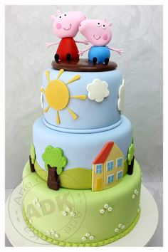 Peppa Pig cake - really simple but well done, i'd like it with hot air balloon on side Mais Cupcakes, Cupcake Cakes, Baby Cakes, Girl Cakes, George Pig Cake, Bolo Da Peppa Pig, Pig Birthday, Novelty Cakes, Macaron