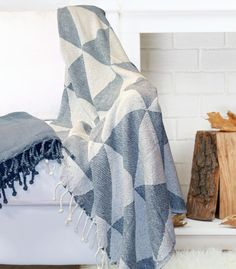 2 Pack 100% Cotton Throw Blanket Blue FREE SHIPPING!