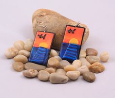 Sea sunset polymer clay earrings by PastimeArt on Etsy, $25.00