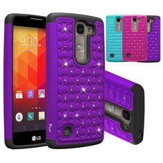 Amazon.com: LG Escape 2 Case, LG Logos Case, LG Spirit Case, Tauri [Dual Layer] Studded Rhinestone Crystal Bling Hybrid Armor Case for LG Escape 2 / LG Logos / LG Spirit LTE - Purple: Cell Phones & Accessories