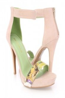 Nude Floral Strap Open Toe High Heels Faux Suede