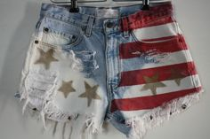 Vtg 80's Levi's American Flag Shred Bleached Reworked High Waist Jean Shorts | eBay