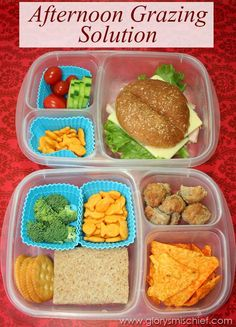 "Afternoon Grazing Solution. Pre-made #easylunchboxes snacks for the kids. ""Hungry before dinner?  You can have anything you want out of your Easy #Lunch #box! """