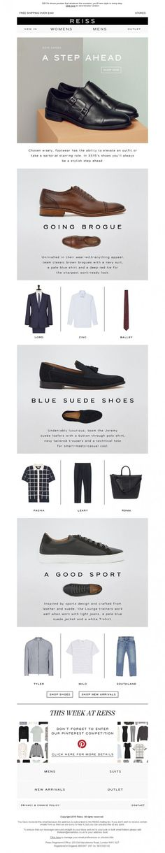 Reiss – Just Landed: New Inspirational Hero Looks – fashion editorial layout Newsletter Layout, Email Newsletter Design, Interior Design Guide, Email Design Inspiration, Email Marketing Design, Men's Fashion Brands, Editorial Layout, Fashion Branding, Editorial Fashion