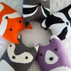 Three Woodland Plush Pillows - Your Choice - Fox, Badger, Wolf, Bear, Raccoon. $95.00, via Etsy.