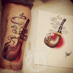 Traditional tobacco pipe tattoo by Sarra Lynnette