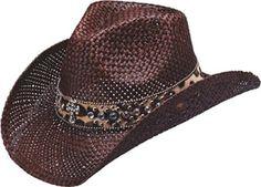 Peter Grimm Ltd Women's Corbett Leopard Print Bling Cross Straw Cowgirl Hat Brown One Size