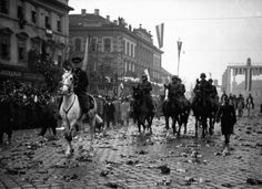 Admiral Horthy, Regent of the Kingdom of Hungary (white horse) leads a grand military parade in the Czech city of Kosice upon its occupation by Hungarian troops on October Phoney War, Defence Force, White Horses, World War Two, Hungary, Troops, Wwii, Around The Worlds, City