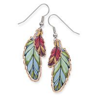 Watercolor Feather Earrings