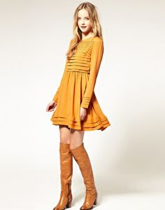 Flattering easy to wear dress. ASOS Fit and Flare Dress With Pleat Detail