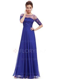 Dresses - $86.92 - Polyester Silk Solid Half Sleeve Maxi Elegant Dresses (1955101648)