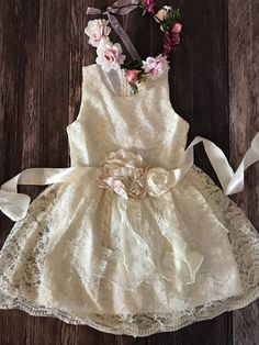 31196cbdbabe Country Lace Couture Dress - Flower Girl Dress - Weddings - First Communion  Dress - Girl Party Dress-First Communion-Baptism