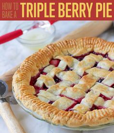 Looking for pie recipes? If you want some dessert recipes you can try and serve to your family, make this triple berry pie recipe. It's a great dessert idea Easy Soup Recipes, Pie Recipes, Dessert Recipes, Sweet Recipes, Recipies, Triple Berry Pie, My Favorite Food, Favorite Recipes, Thanksgiving Pies