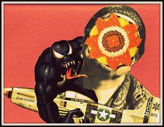 """ain't no sunshine when she's gone""    Collage on paper. War and peace series."" ©Lucy Onsky"