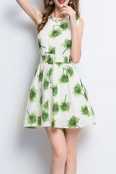 Print Belted Sleeveless Mini Dress