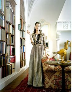 Emilie Jean in vintage Geoffrey Beene from Resurrection NY. Photographed by Ben Hoffman, Town & Country May 2012