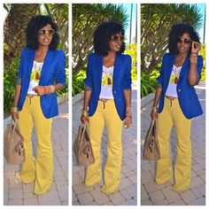 love the mustard colored Bells with the Blue blazer