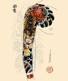 Popular Tattoos and Their Meanings Japanese Tiger Tattoo, Tattoo Japanese Style, Japanese Tattoo Symbols, Japanese Dragon Tattoos, Traditional Japanese Tattoos, Japanese Tattoo Designs, Japanese Sleeve Tattoos, Chinese Tattoos, Arabic Tattoos