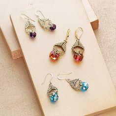 Robijo Burzynski, Briolette Bauble Earrings, beadweaving earrings design