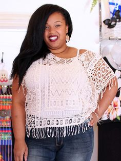 Bohemian Crochet Fringe Top by Point Zero Curvy