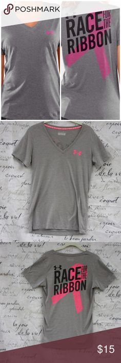 """Under Armour Race For The Ribbon Tee Breast cancer awareness t-shirt. This does have wear including pilling, but it is a meaningful t-shirt and still full of life. 26"""" long and 18"""" across underarms. Under Armour Tops Tees - Short Sleeve"""