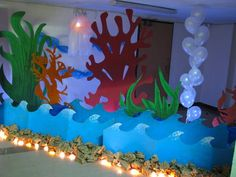 Great Barrier Reef, I could cut that coral out of poster paper. It would look so fly. Balloons are easy and cheap too!