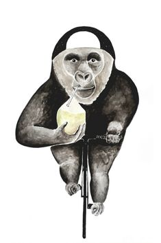 """Gorilla on Bicycle"" on RIDING RHINO #gorilla #affe #illustration #fahrrad #animal #bicycle #ape #design #veganism #cyclism #minimalism #zuckerfrei #Sportgetränk #Kokusnuss #coconut"
