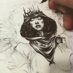 WEBSTA @ dzoolivier - While i'm sharing with you the wall project, i'm still working on Zorya, dawn mother. This just a little view of this new #ink project . #sketch #wip #goddess #dawn #woman #materia #prima #night #dark #light #crown .....