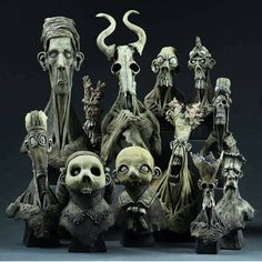 A collection of creepy creatures from artist @dugstanat. Such killer style! -- #freakshow #sculpt #spfx #sfx #badass #sculpture #creature #monster #cute #creepy #macabre #horror #gothic #skeleton #nightmare #zombie #ghoul #frankenstein #freaks