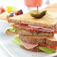 Prosciutto, Lettuce, and Tomato Sandwiches - More low cal #sandwich meals