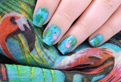 Nailstorming - Voilà l'été ! - Pink flamingos - summer nails - tropical nailart