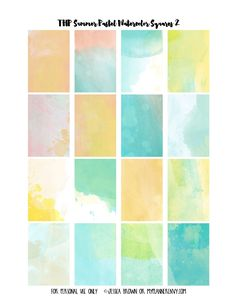 Free #Printable Summer Pastel Watercolor Weekly Squares Page 2 for the Happy Planner on myplannerenvy.com