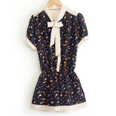 Stylish Short Sleeve Heart Print Polka Dot Splicing Self-Tie Women's JumpsuitsVintage Jumpsuits | RoseGal.com