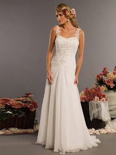 (NO.0258423)2012 Style A-line Straps Ruffles  Sleeveless Sweep / Brush Train Chiffon Wedding Dresses For Brideses