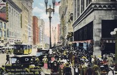 An old postcard of a bustling downtown Los Angeles sometime between 1911 and 1915.  Bizarre Los Angeles