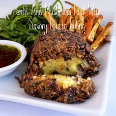 Lentil & Mushroom Loaf With Savory Potato Filling | 41 Delicious #Vegan #Thanksgiving #Recipes