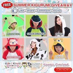 Free Ultimate Kigurumi Giveaway! heart emoticon  Kigu Kawaii, in collaboration with Kawaii Overload will be giving away any of these comfortable summer kigurumi onesies!  JOIN NOW: http://on.fb.me/1G64ExI
