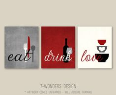 Styling Kitchen Wall Art Decor; Modern Kitchen Eat Drink Love Art Prints. Beautiful fresh modern colors: Shades of Rustic Red, Gray, Black and Cream. ** And the best part is that Colors are fully customizable too. Comes in Your choice of several size options. Set of (3) Dimensions: