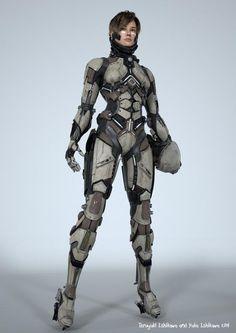 by Teruyuki and Yuka. (via ArtStation - Teruyuki and Yuka) More robots here. Armor Concept, Concept Art, Armadura Sci Fi, Medieval Combat, Science Fiction, Science Art, Armadura Cosplay, 3d Mode, Female Armor