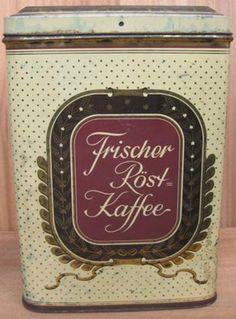 Frischer-Rost Coffee Vintage Tins, Vintage Coffee, Antique Coffee Grinder, Coffee Tin, Coffee Packaging, Lettering, Canning, German, Fresh Coffee