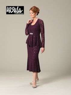 Ursula 11287T Two piece stretch lace mother of the bride sleeveless dress with long sleeve.