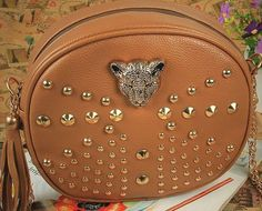 Leopard Head Rivets Women Messenger Bags Gorgeous Punk Women Leather Handbags Classic Evening Bags