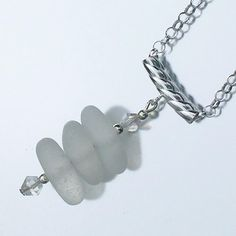 Pure white - Genuine sea glass, crystal and sterling silver necklace