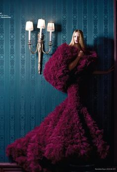 Maud Welzen in Jantaminiau Haute Couture, photographed by Benjamin Kanarek for Harper's Bazaar España November 2012.