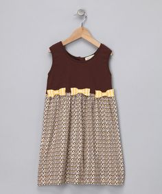 Take a look at this Brown Bow Organic Sleeveless Dress - Infant, Toddler & Girls by violet + moss on #zulily today!