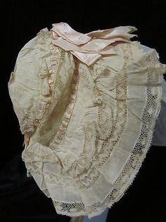 $25US Original: Antique Victorian Baby Bonnet Hand Made Lace
