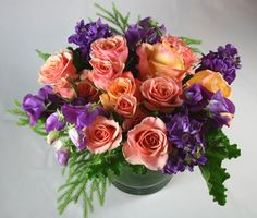 """Luscious, lovely, a true extravaganza of pink, purple and green artisan flowers lavishly designed. #Roses, Sweet Pea perfect for birthday, congratulation or simply to say """"Happy Tuesday.""""  RossiandRovetti.com Dia Lucrii Fiori Arrangement"""