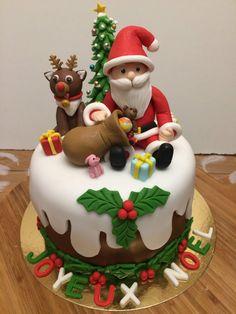 Xmas Cakes, Christmas Cakes, Christmas Cake Designs, Cocktail Desserts, Theme Noel, Chocolate Art, Fondant Figures, Diy Clay, Party Cakes