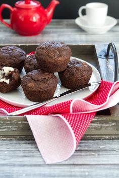 Oil Free Chocolate Zucchini Walnut Muffins