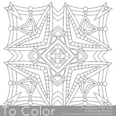 Printable Square Mandala Coloring Pages for Adults, Mandala Pattern, PDF / JPG, Instant Download, Coloring Book, Coloring Sheet, Grown Ups by ToColor on Etsy